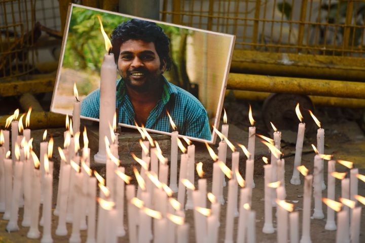 Activists participate in a candlelight march to observe Rohith Vemula's first death anniversary on January 17, 2017 in New Delhi.