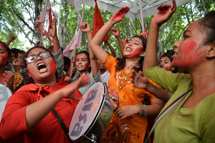 Students celebrate as United Left Alliance wins all four seats in JNU elections in 2018.