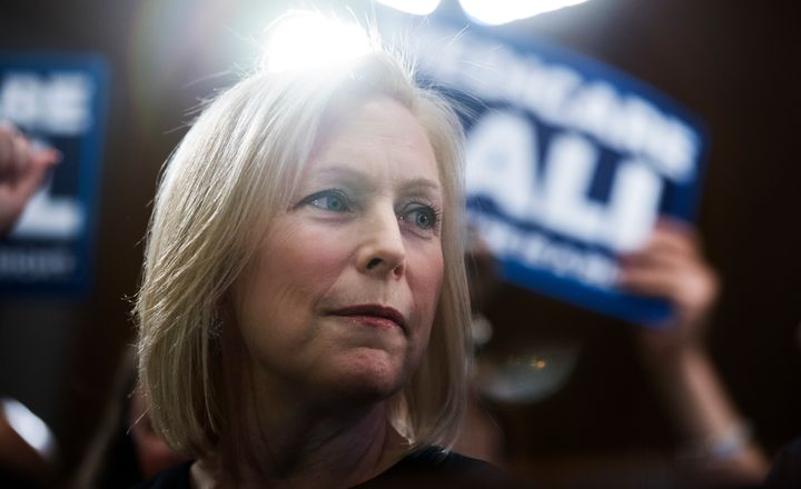 Sen. Kirsten Gillibrand, D-N.Y., conducts an event to introduce the 'Medicare for All Act of 2019' in Dirksen Building on Wed