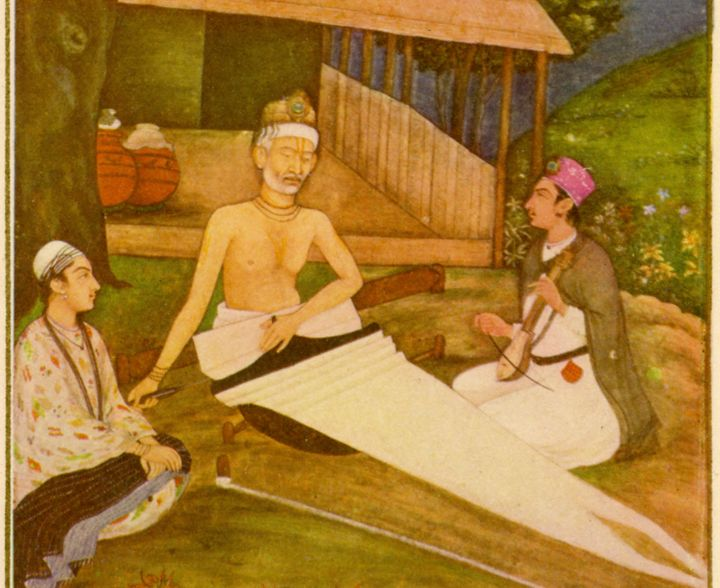 From the Mughal School, 18th century. Kabir, the Hindu religious poet, working as a weaver at his loom, with two disciples.