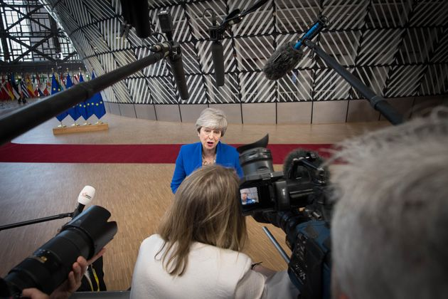 Prime Minister Theresa May arrives at the European Council in Brussels where European Union leaders are...