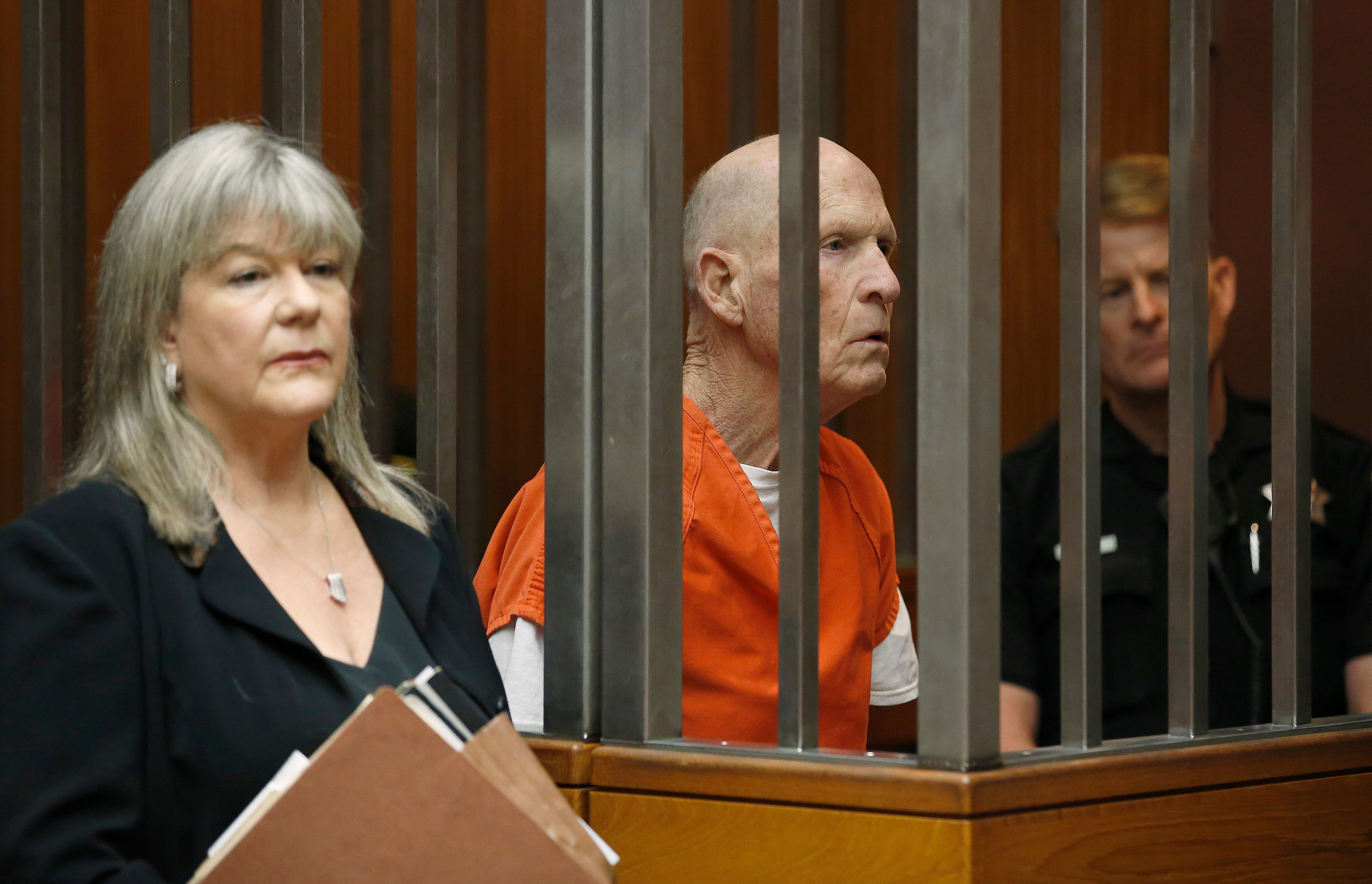 Joseph James DeAngelo, suspected of being the Golden State Killer, appears in Sacramento County Superior Court, with his attorney, Diane Howard, where prosecutors announced they will seek the death penalty if he is convicted in his case, Wednesday, April 10, 2019, in Sacramento, Calif. The announcement flies in the face of California Gov. Gavin Newsom, who recently announced a moratorium on executions. (AP Photo/Rich Pedroncelli)