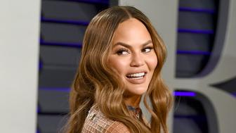 Chrissy Teigen arrives at the Vanity Fair Oscar Party on Sunday, Feb. 24, 2019, in Beverly Hills, Calif. (Photo by Evan Agostini/Invision/AP)