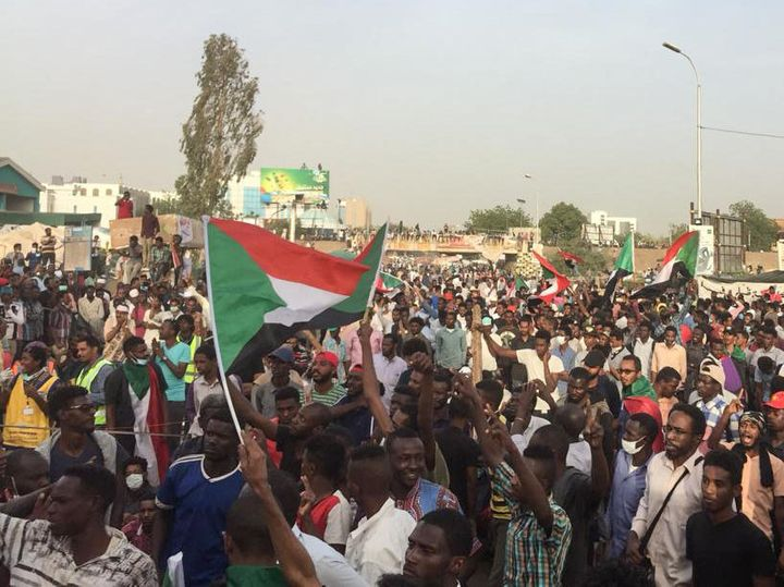 Sudanese protesters rally in front of the military headquarters in the capital Khartoum on Thursday.