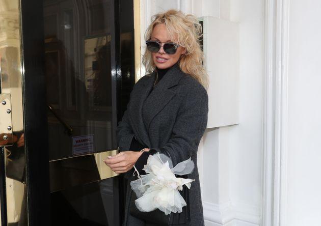 Pamela Anderson outside the Ecuadorian embassy in