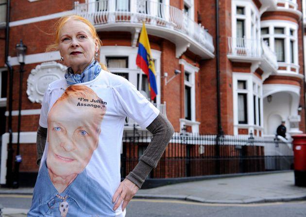 Designer Vivienne Westwood sports an 'I Am Julian Assange' T-Shirt outside the Ecuadorian