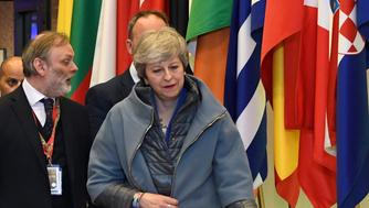 British Prime Minister Theresa May leaves at the conclusion of an EU summit in Brussels, Thursday, April 11, 2019. European Union leaders on Thursday offered Britain an extension to Brexit that would allow the country to delay its EU departure date until Oct. 31. (AP Photo/Riccardo Pareggiani)