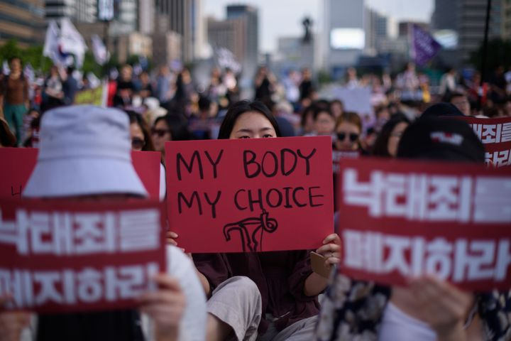 Protesters mobilized against South Korea's abortion ban last year.