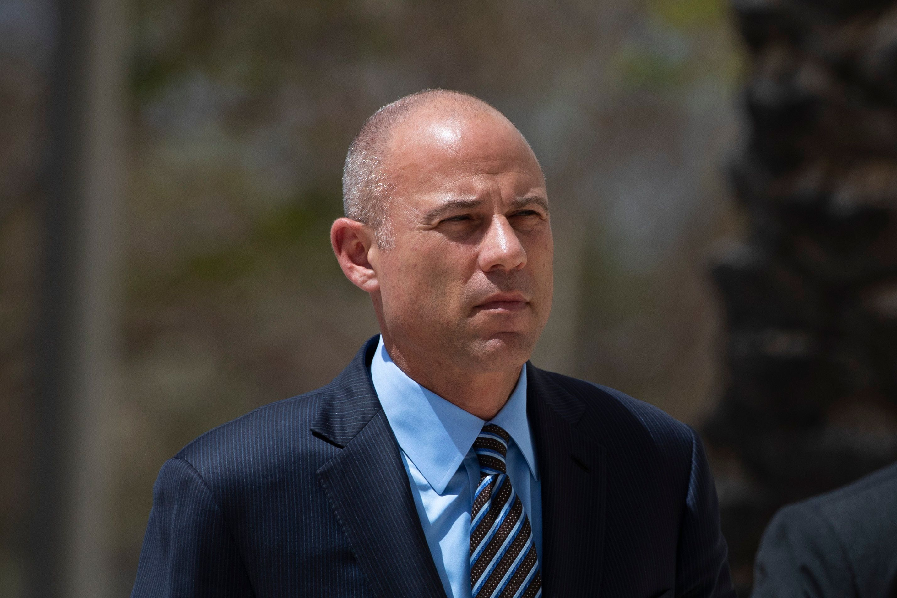 Attorney Michael Avenatti arrives at federal court Monday, April 1, 2019, in Santa Ana, Calif. Avenatti appeared in federal court on charges he fraudulently obtained $4 million in bank loans and pocketed $1.6 million that belonged to a client. (AP Photo/Jae C. Hong)