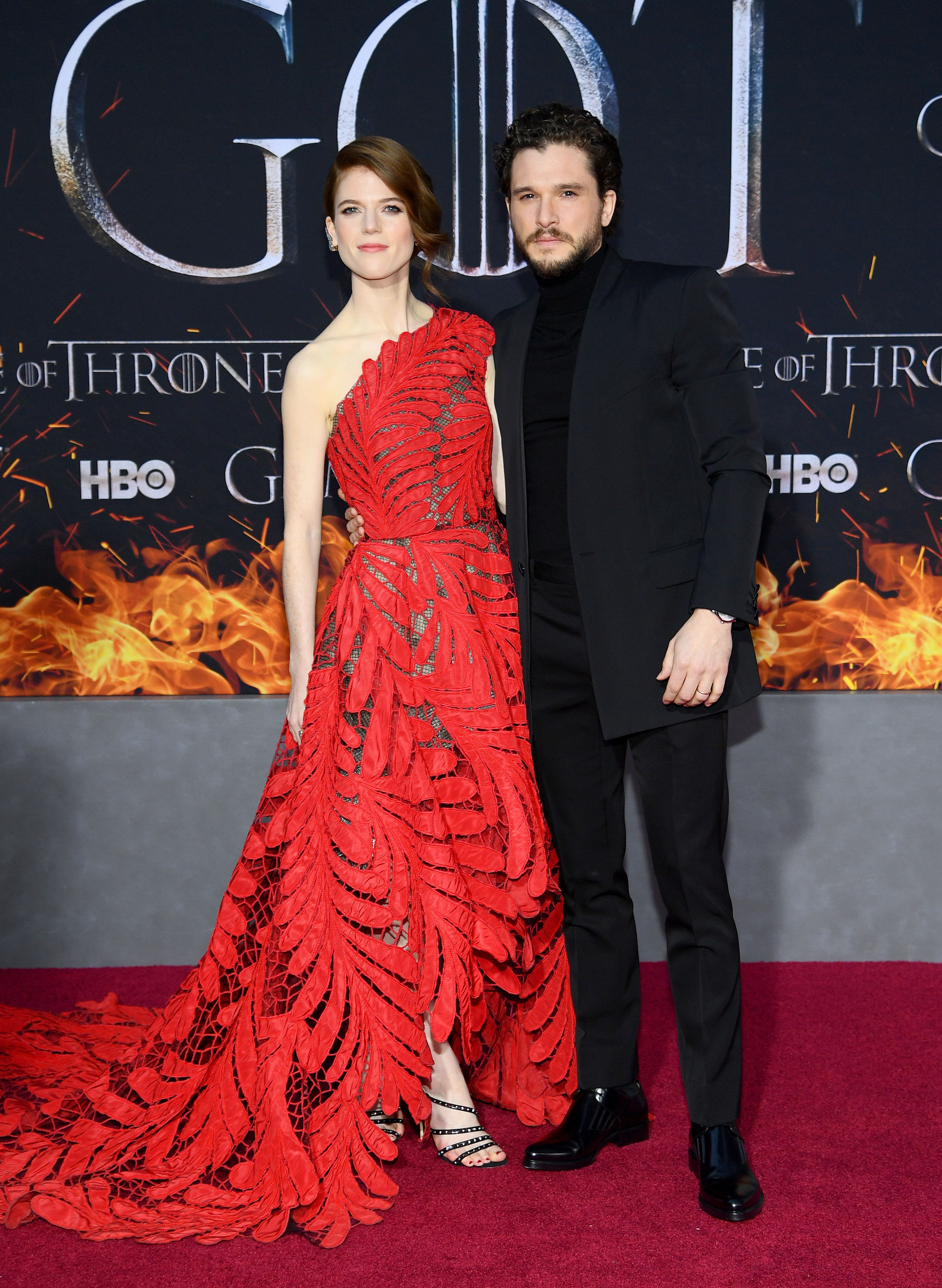 NEW YORK, NEW YORK - APRIL 03: Rose Leslie and Kit Harington attend the 'Game Of Thrones' Season 8 Premiere on April 03, 2019 in New York City. (Photo by Dimitrios Kambouris/Getty Images)