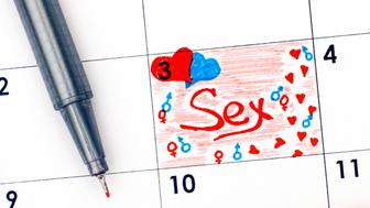 Reminder Sex in calendar with red pen. Close-up.