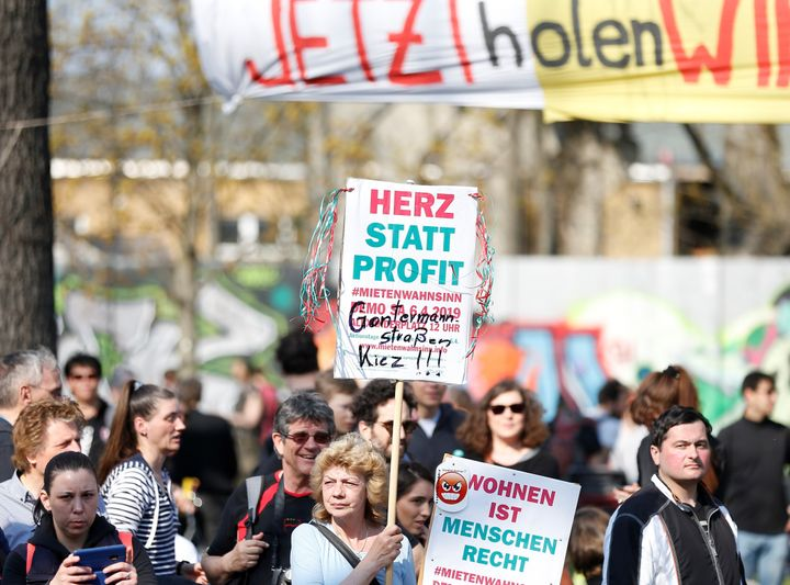 Demonstrators gather to protest against rising rents at Alexanderplatz Square in Berlin on April 6.