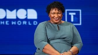 Founder of Fair Fight, Stacey Abrams, speaks during the 10th Anniversary Women In The World Summit on April 11, 2019 in New York City. (Photo by Johannes EISELE / AFP)        (Photo credit should read JOHANNES EISELE/AFP/Getty Images)