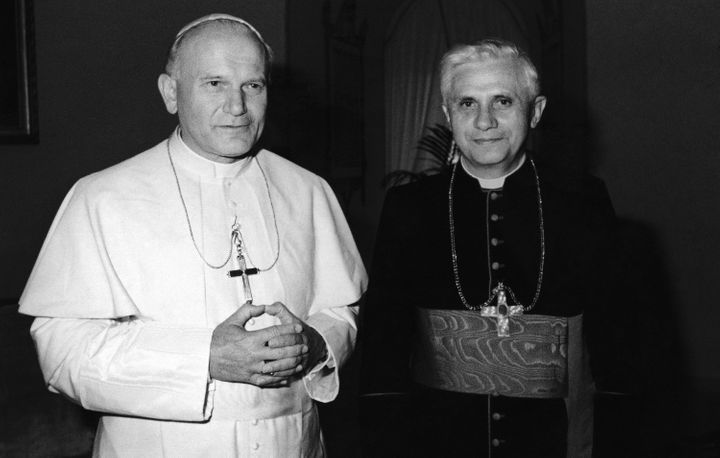 In this 1979 file photo, Pope John Paul II, left, poses with Cardinal Joseph Ratzinger of Munich, who would later go on to be