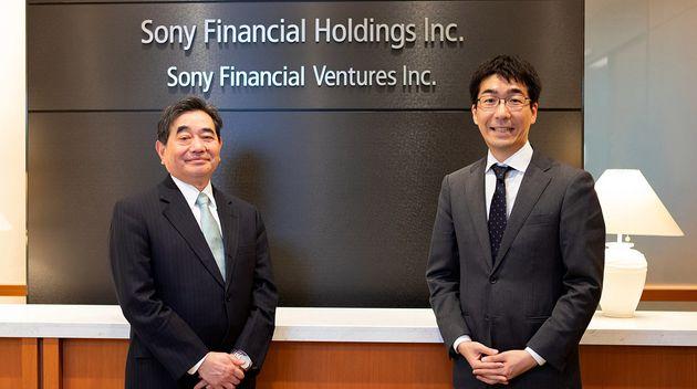 (左から)ソニーフィナンシャルベンチャーズ株式会社 代表取締役社長・石井茂氏、クラウドクレジット株式会社 代表取締役社長・杉山智行氏