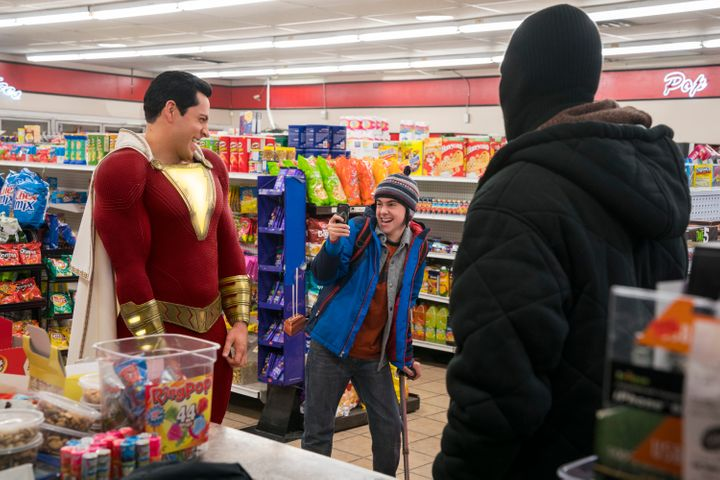 Freddy and Shazam testing out his powers.