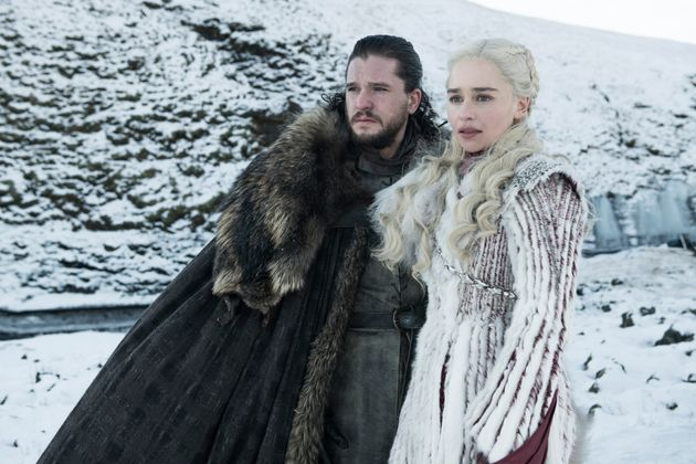 Jon and Dany staring longingly at a waterfall in the Season 8