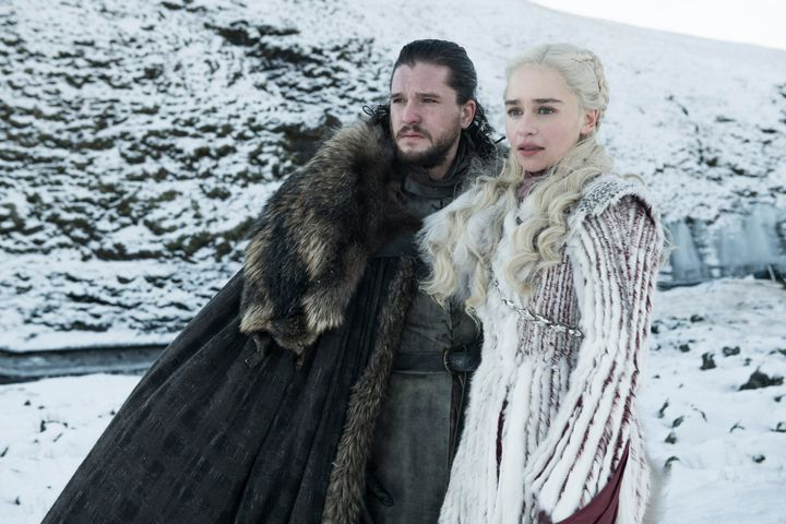 Jon and Dany staring longingly at a waterfall in the Season 8 premiere.