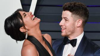 BEVERLY HILLS, CALIFORNIA - FEBRUARY 24: Priyanka Chopra and Nick Jonas attend the 2019 Vanity Fair Oscar Party hosted by Radhika Jones at Wallis Annenberg Center for the Performing Arts on February 24, 2019 in Beverly Hills, California. (Photo by George Pimentel/Getty Images)