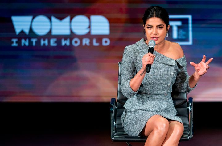 Priyanka Chopra speaks at the Women in the World Summit in New York on Thursday.