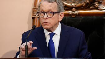 FILE - In this March 5, 2019 file photo, Ohio Governor Mike DeWine speaks during the Ohio State of the State address at the Ohio Statehouse in Columbus. DeWine says he will sign a bill imposing one of the nation's toughest abortion restrictions, following through on his pledge to sign the heartbeat bill Thursday, April 11, 2019. The bill cleared the state Legislature on Wednesday. (AP Photo/Paul Vernon, File)