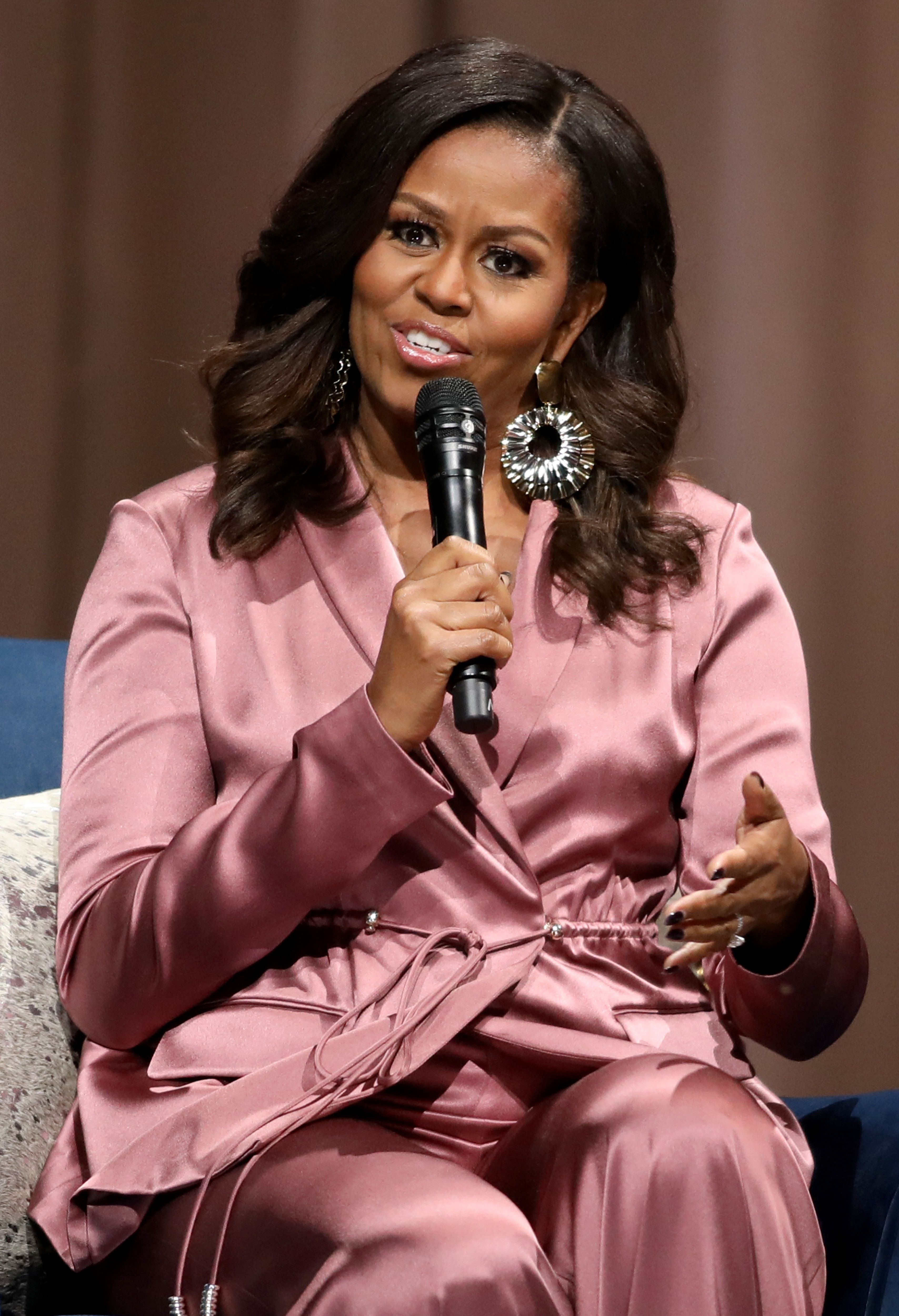 SAN JOSE, CA - DECEMBER 14: Former First Lady Michelle Obama speaks during her 'Becoming' book tour stop at the SAP Center in San Jose, Calif., on Friday, Dec. 14, 2018. Obama's memoir was released on November 13th.  (Anda Chu/Digital First Media/The Mercury News via Getty Images)