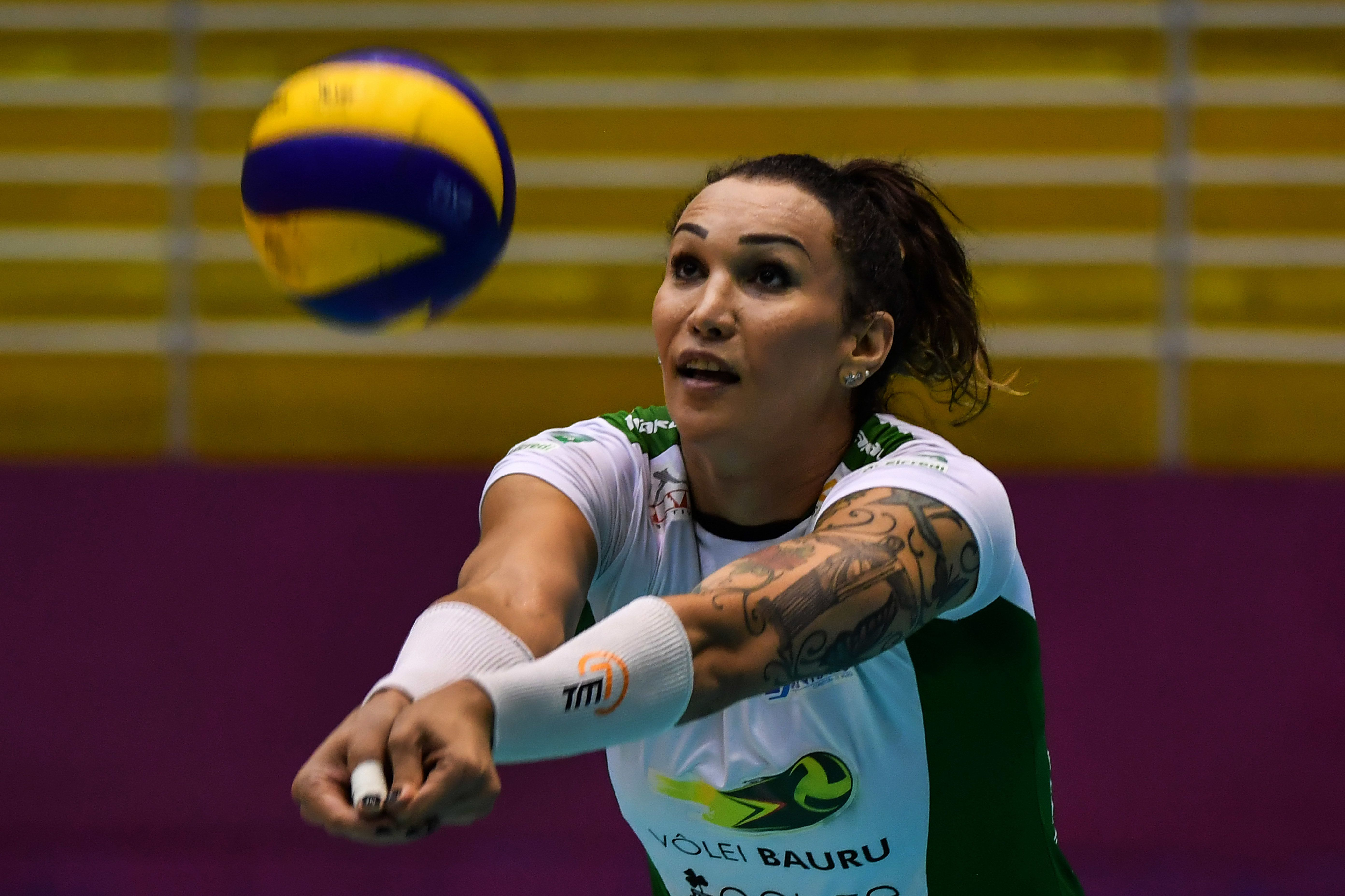 Brazilian transsexual volleyball player Tifanny Abreu takes part in a training session in Barueri, Sao Paulo, Brazil on February 16, 2018. - Abreu, the first transsexual to play in the Brazilian women's volleyball league, is candidate for federal deputy in the October 7 elections. (Photo by NELSON ALMEIDA / AFP)        (Photo credit should read NELSON ALMEIDA/AFP/Getty Images)
