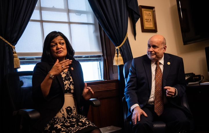 Reps. Pramila Jayapal (D-Washington) and Mark Pocan (D-Colo.), the co-chairs of the House Progressive Caucus.