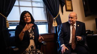 WASHINGTON, DC - JANUARY 29: U.S. Representatives Mark Pocan (WI) and Pramila Jayapal (WA), the Co-Chairs of the Congressional Progressive Caucus (CPC), speak to reporters on Capitol Hill, on Tuesday, January 29, 2019, in Washington, D.C. (Photo by Salwan Georges/The Washington Post via Getty Images)