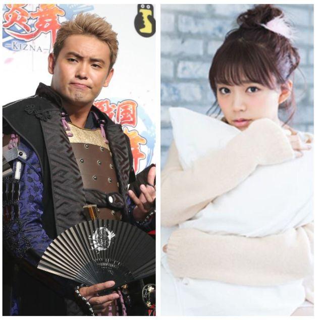 入籍を発表した新日本プロレスのIWGPヘビー級王者オカダ・カズチカさん(左)と「ラブライブ!」などで人気の声優三森すずこさん