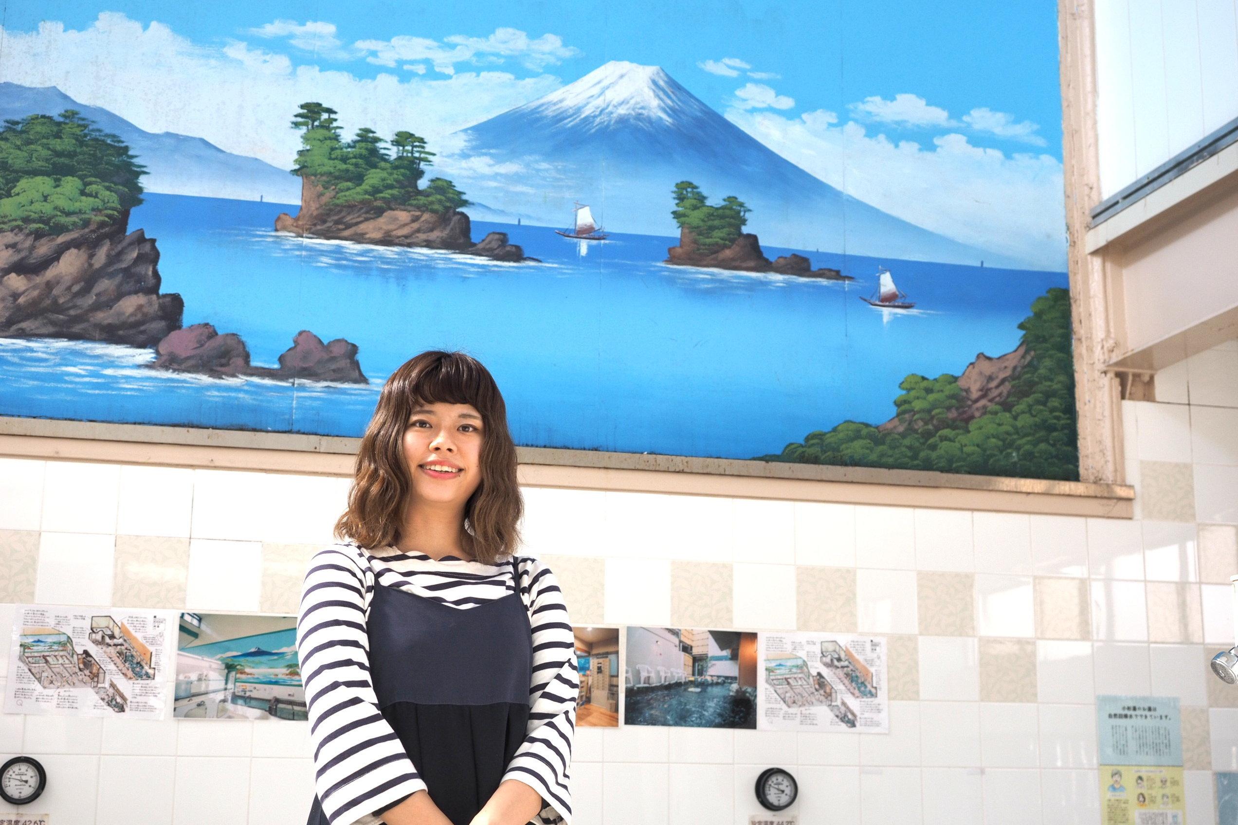 小杉湯でインタビューに応じる塩谷歩波さん(2019年3月21日撮影)
