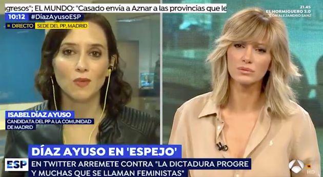 Isabel Díaz Ayuso en 'Espejo Público' (Antena 3), con Susanna