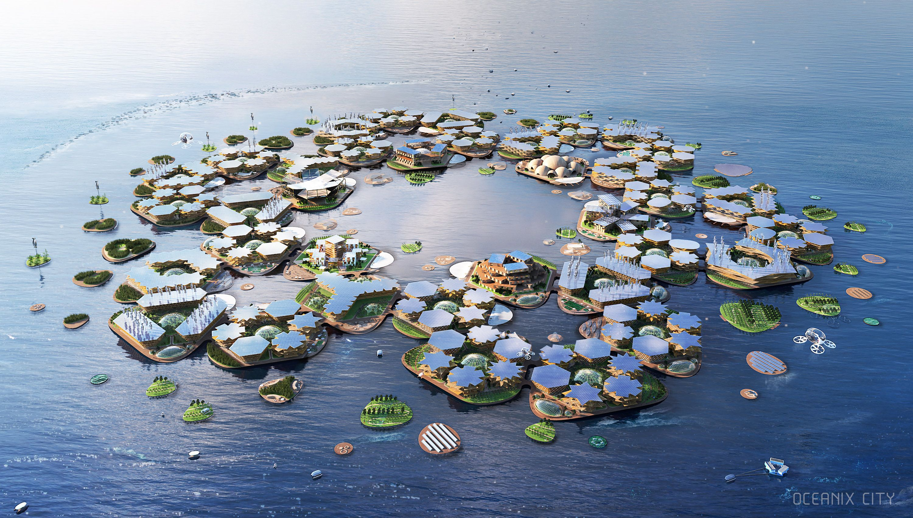 An illustration of what Oceanix's floating city would look like.
