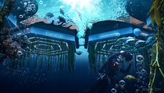 An illustration of the floating city as seen from underwater.