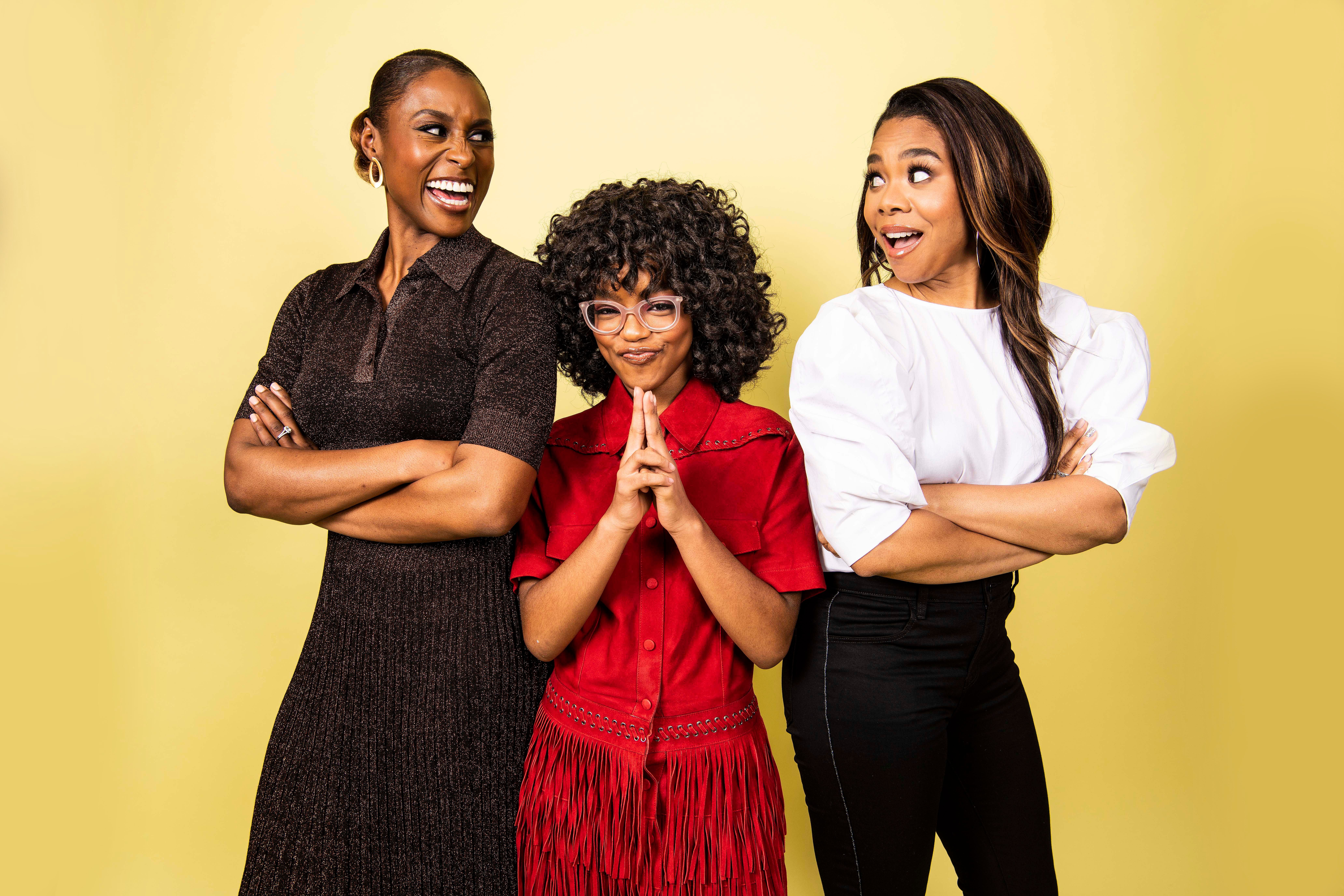 NEW YORK, NY - APRIL 1: Issa Rae, Marsai Martin and Regina Hall pose for portraits in New York on Apr. 1, 2019. (Photo by Damon Dahlen/HuffPost) *** Local Caption ***