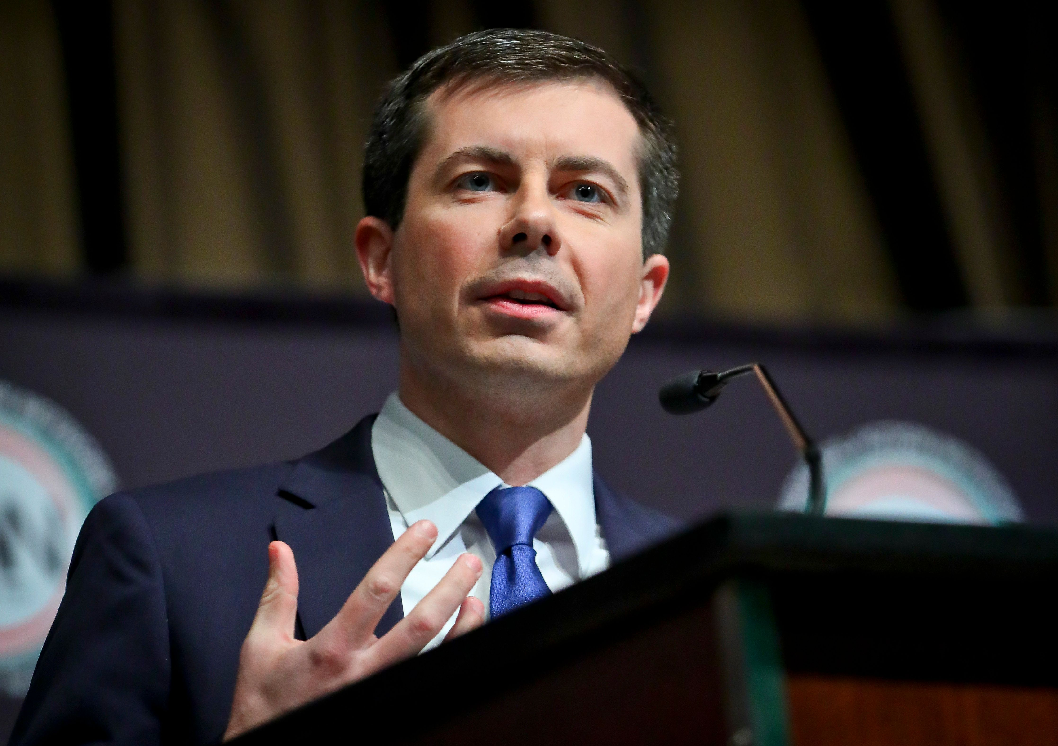 Democratic presidential candidate Pete Buttigieg, South Bend, Ind. mayor, address the National Action Network (NAN) convention, Thursday April 4, 2019, in New York. (AP Photo/Bebeto Matthews)