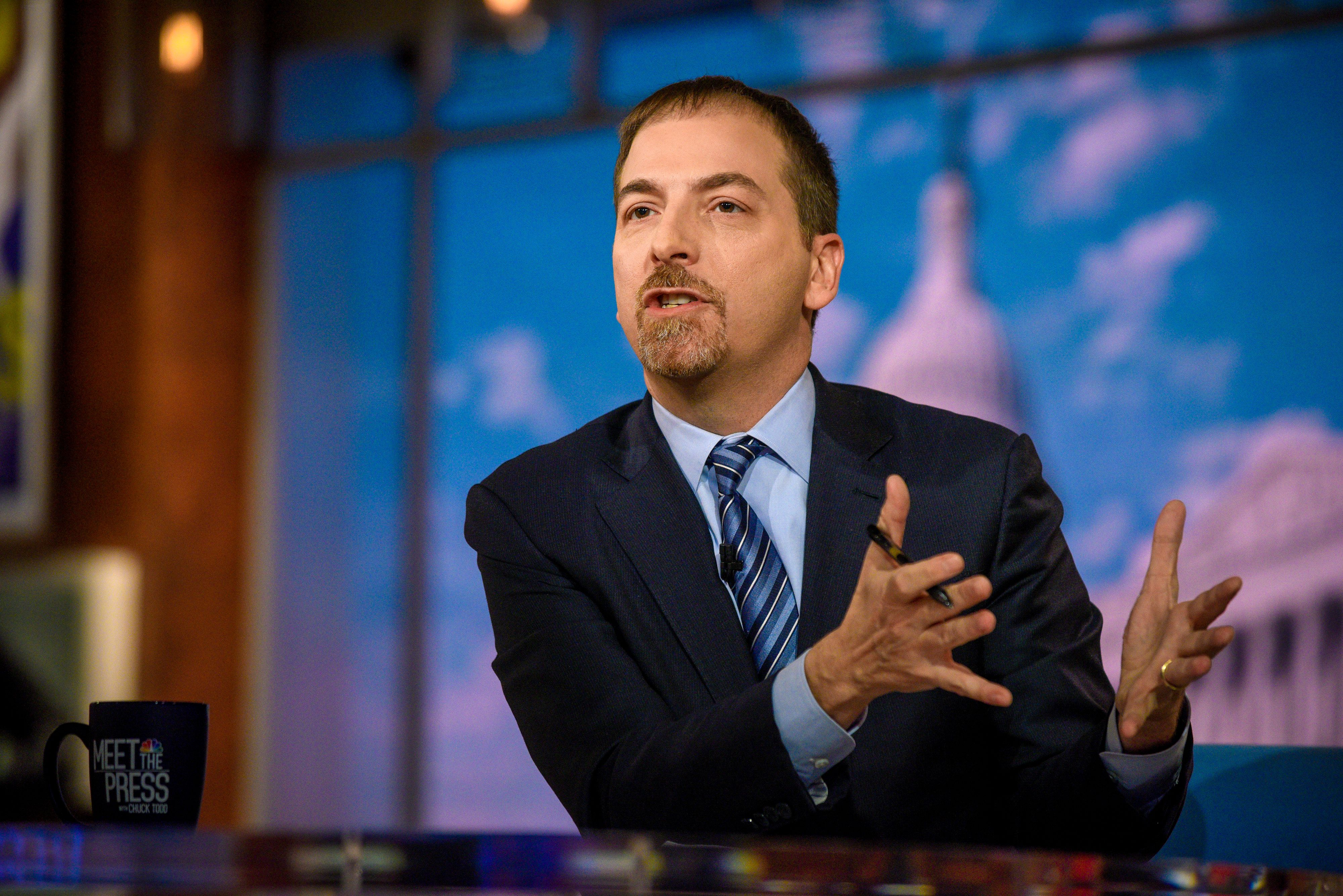 MEET THE PRESS -- Pictured: (l-r)  Moderator Chuck Todd appears on 'Meet the Press' in Washington, D.C., Sunday, Feb. 3, 2019.  (Photo by: William B. Plowman/NBC/NBC NewsWire via Getty Images)