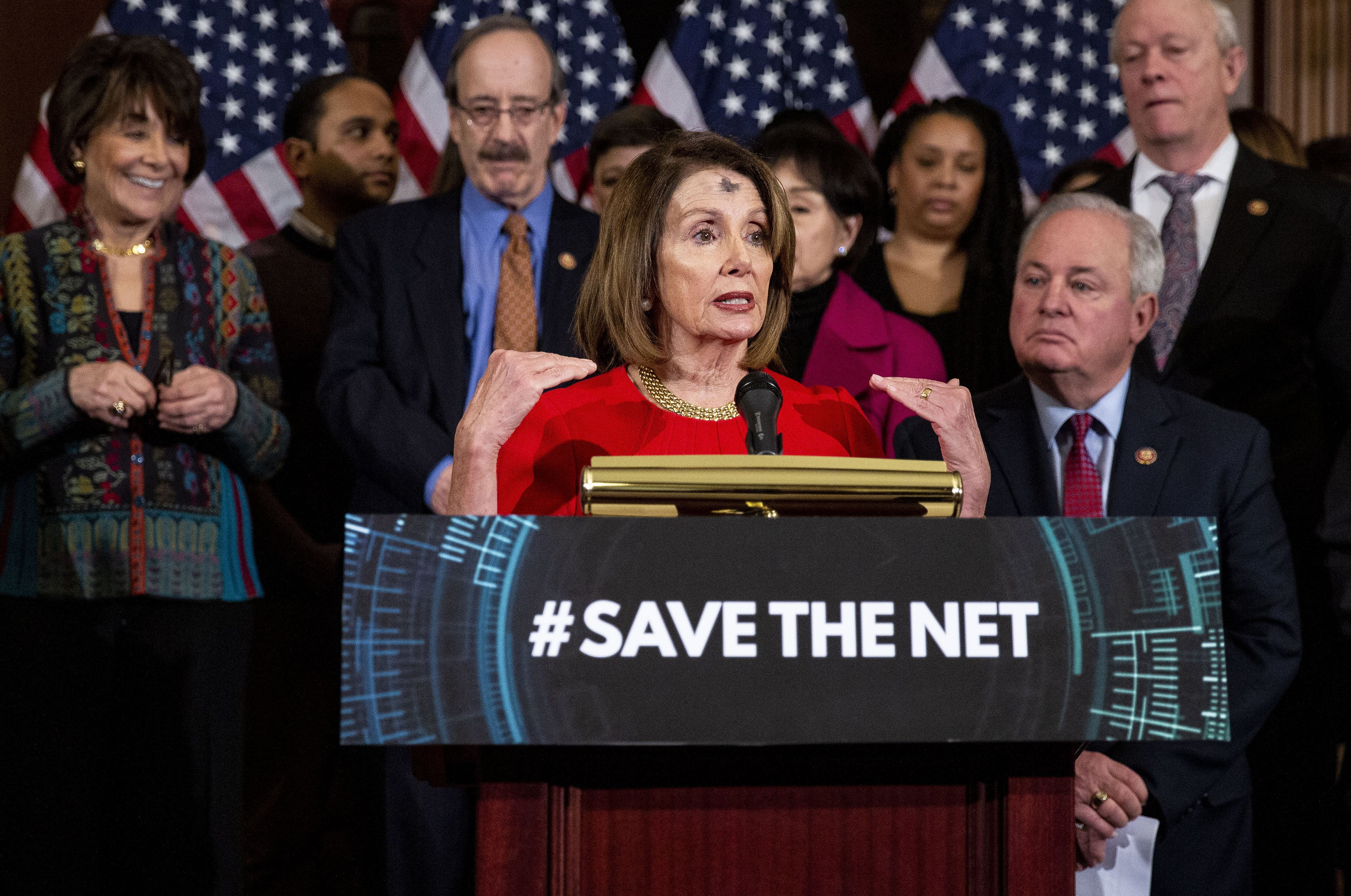 Nancy Pelosi speaks at a March 6 news conference on Democrats' bill to restore Obama-era net neutrality rules eliminated by t