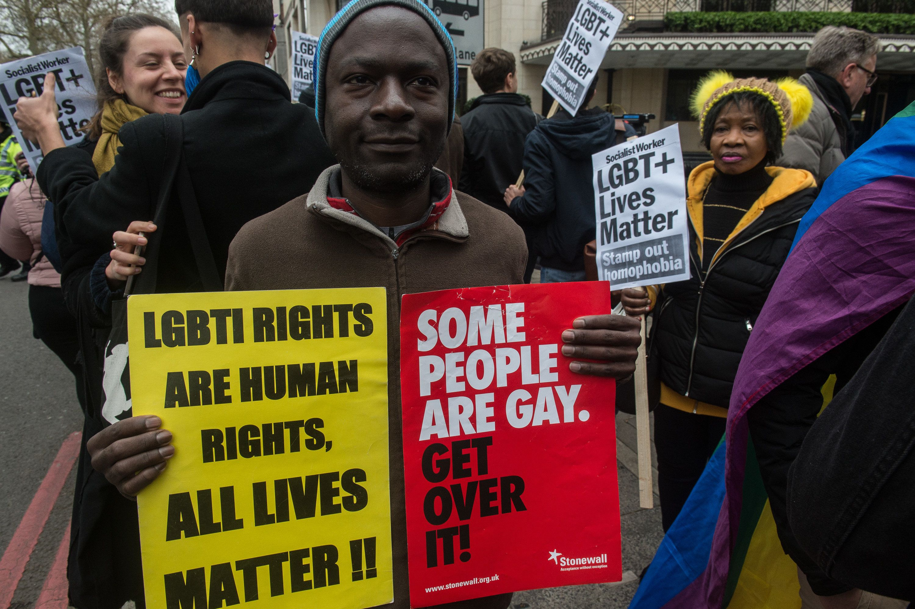 LONDON, ENGLAND - APRIL 6: LGBT activists protest against the Sultan of Brunei, who has ratified a law to make homosexuality punishable by stoning, at the Dorchester Hotel on April 6, 2019 in London, England. (Photo by Guy Smallman/Getty Images)