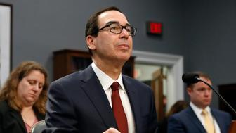 "Treasury Secretary Steven Mnuchin testifies before a House Appropriations subcommittee during a hearing on President Trump's budget request for Fiscal Year 2020, Tuesday, April 9, 2019, on Capitol Hill in Washington. Mnuchin said Tuesday that his department intends to ""follow the law"" and is reviewing a request by a top House Democrat to provide Trump's tax returns to lawmakers. (AP Photo/Patrick Semansky)"