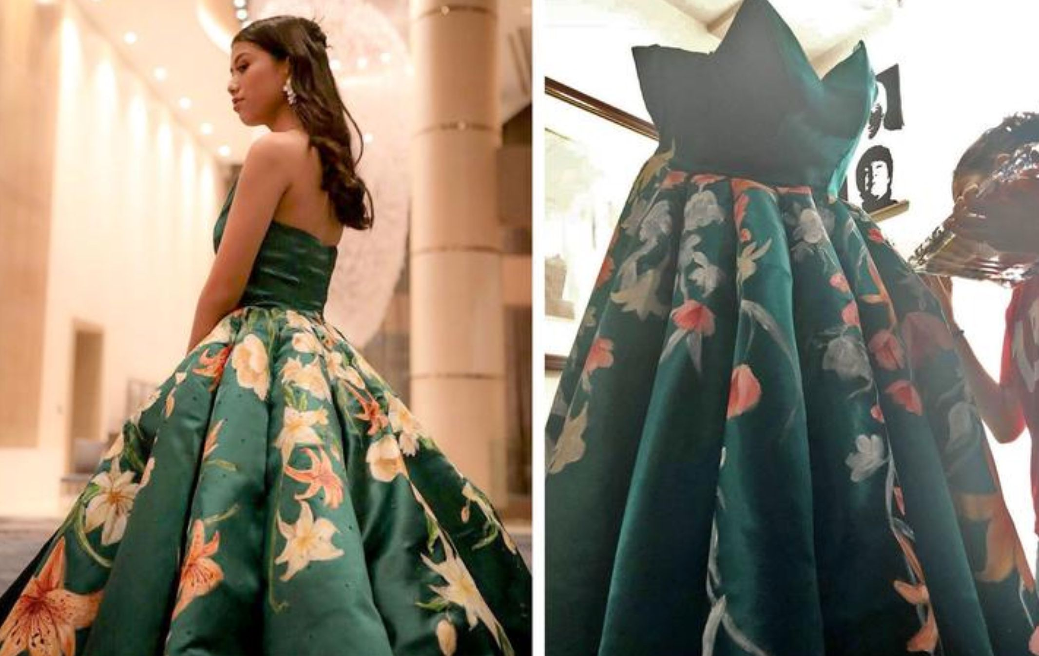 "Ciara Gan, a recent high school graduate in the Philippines, poses with the dress that has been called an ""absolute masterpiece"" online."