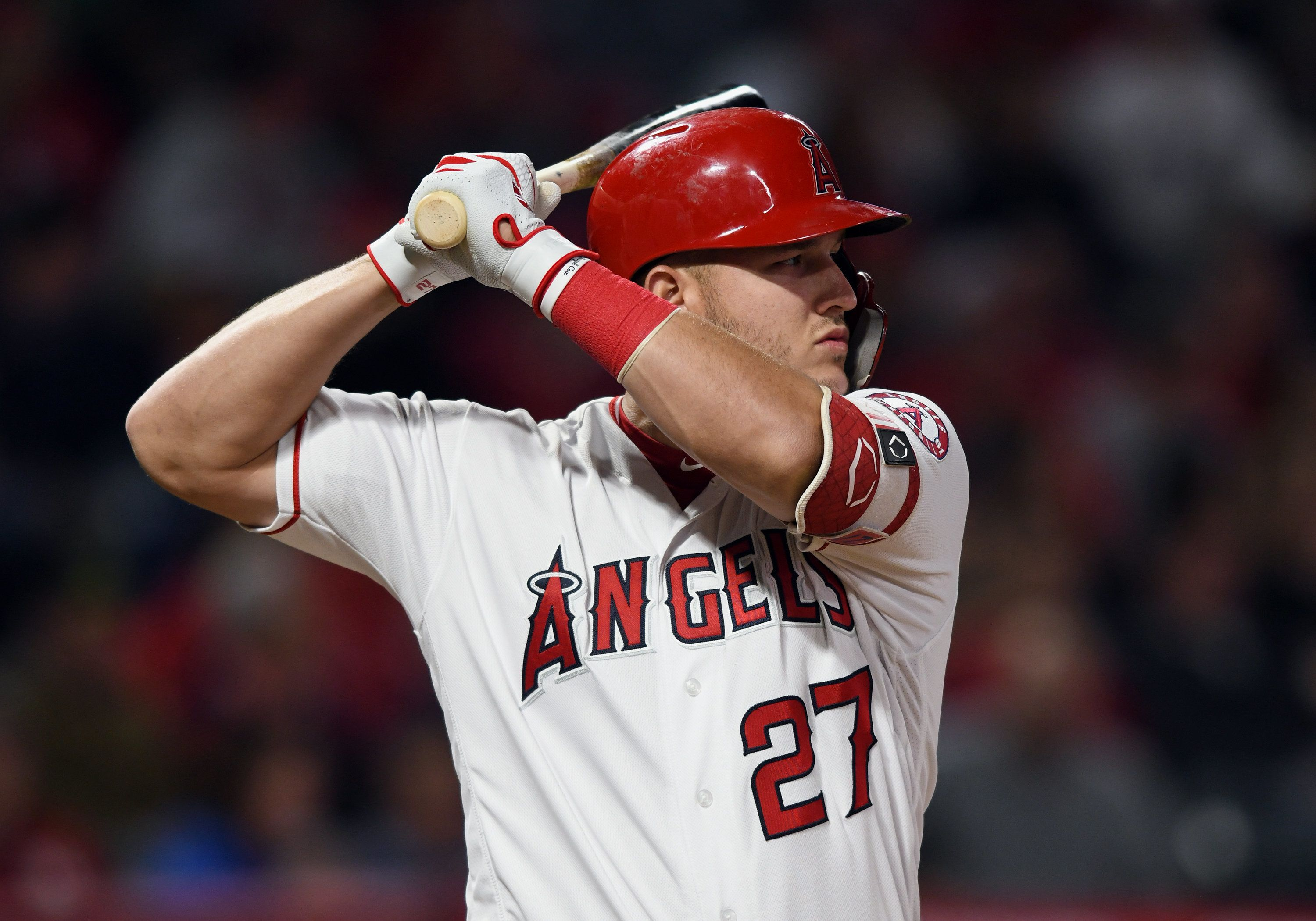 ANAHEIM, CA - APRIL 09: Los Angeles Angels center fielder Mike Trout (27) during an at bat in the second inning of a game against the Milwaukee Brewers played on April 9, 2019 at Angel Stadium of Anaheim in Anaheim, CA. (Photo by John Cordes/Icon Sportswire via Getty Images)