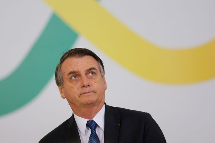 Brazil's President Jair Bolsonaro at a ceremony Thursday marking his first 100 days in office at the Planalto Palace in Brasi