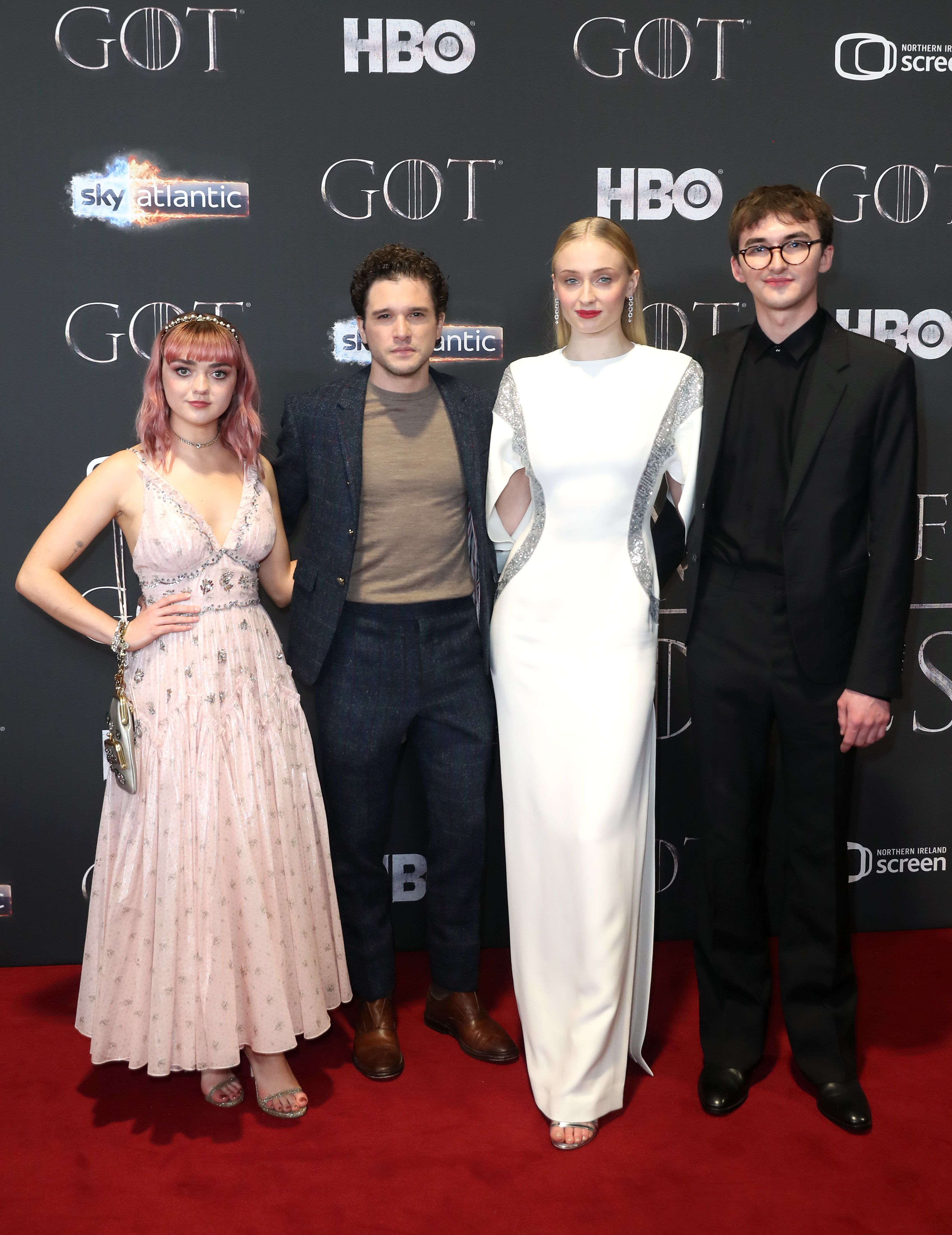 Maisie Williams, Kit Harington, Sophie Turner, and Isaac Hempstead Wright attending the Game of Thrones Premiere, held at Waterfront Hall, Belfast. (Photo by Liam McBurney/PA Images via Getty Images)