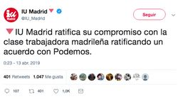 Pitorreo en Twitter con el nombre de la coalición de Podemos e IU en