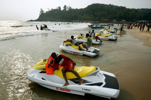File photo of water scooters parked on the Baga beach in