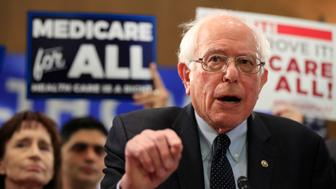 Sen. Bernie Sanders, I-Vt., introduces the Medicare for All Act of 2019, on Capitol Hill in Washington, Wednesday, April 10, 2019. (AP Photo/Manuel Balce Ceneta)