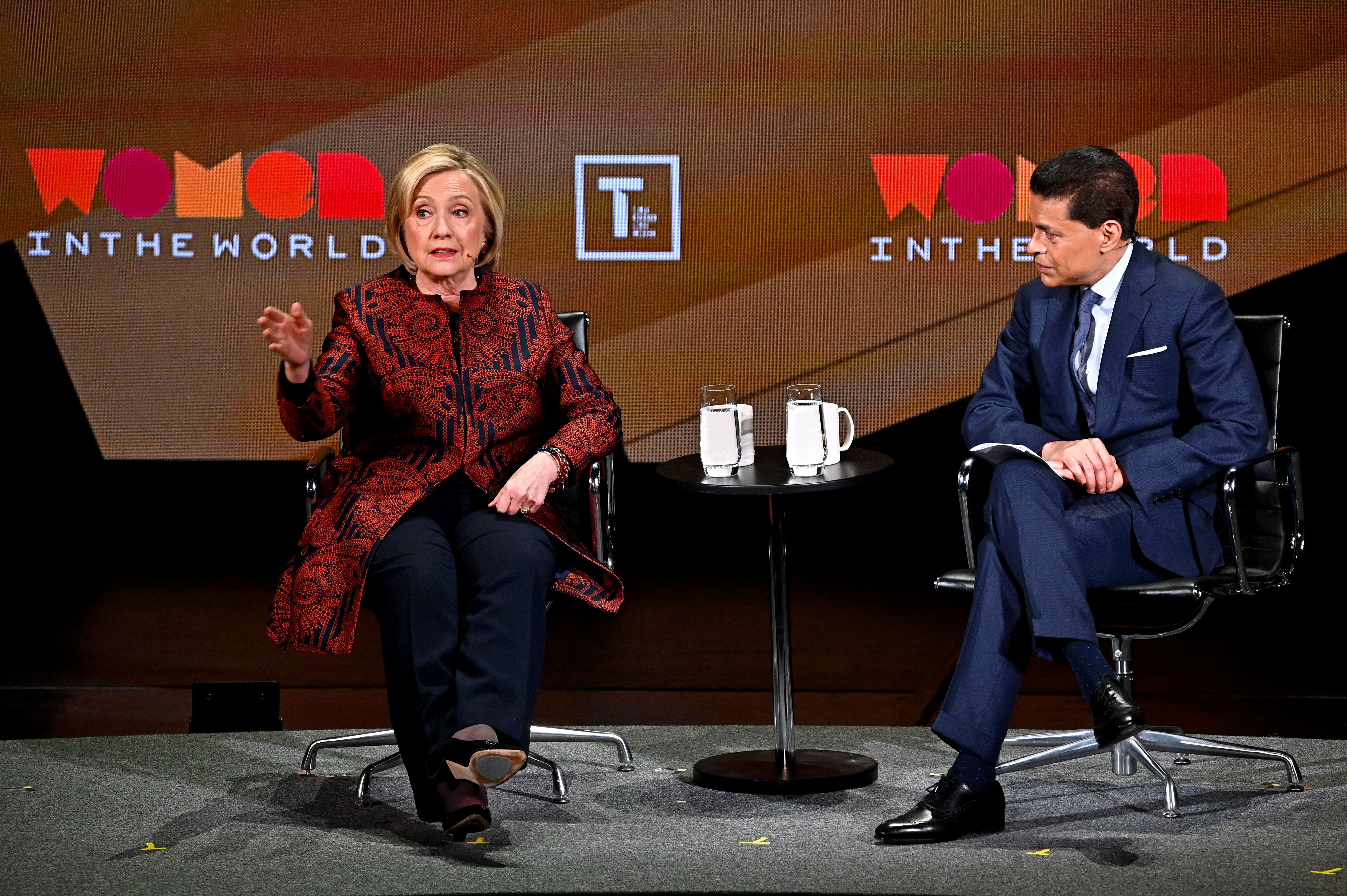 NEW YORK, NEW YORK - APRIL 12: Hillary Clinton and Fareed Zakaria speak during the 10th Anniversary Women In The World Summit at David H. Koch Theater at Lincoln Center on April 12, 2019 in New York City. (Photo by Mike Coppola/Getty Images)