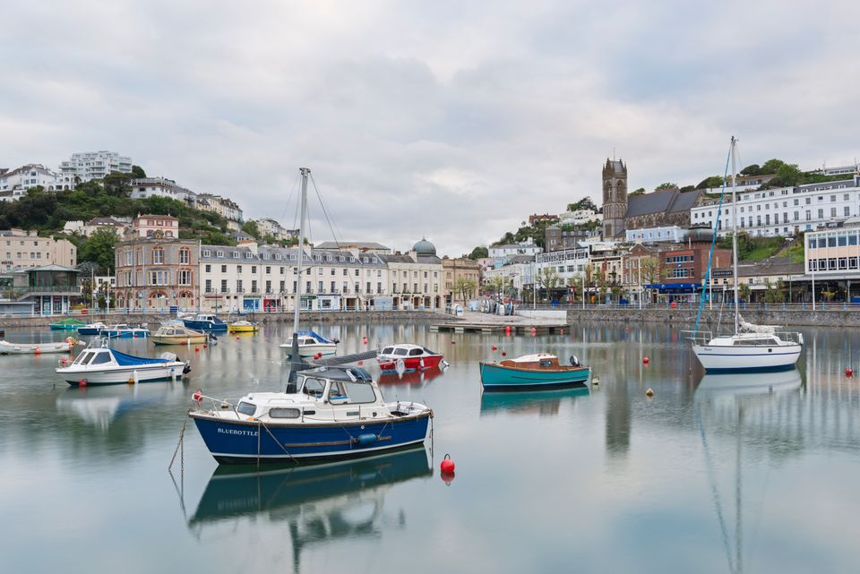 Boats moored in the harbour at Torquay, South Devon, England, United Kingdom,