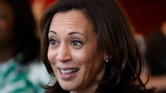 2020 Democratic presidential candidate Sen. Kamala Harris speaks to students at a local cafe, Thursday, April 11, 2019, in Des Moines, Iowa. (AP Photo/Charlie Neibergall)